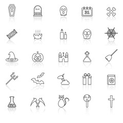 Halloween line icons with reflect on white background