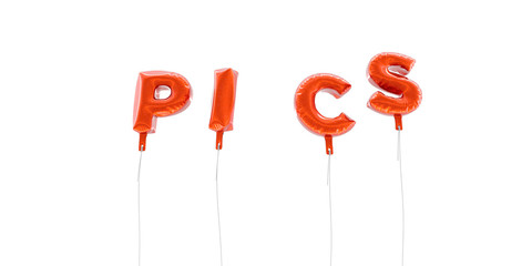 PICS - word made from red foil balloons - 3D rendered.  Can be used for an online banner ad or a print postcard.