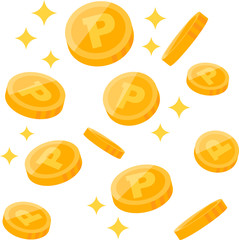 散らばるコイン ポイント
