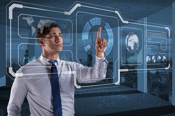 Businessman in data mining concept