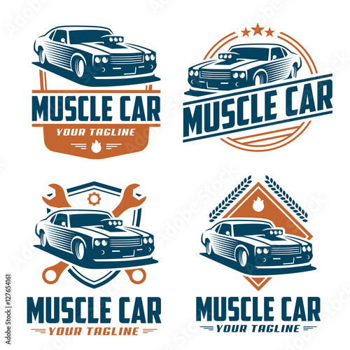 Vector Pack Of Muscle Car Logo Design Muscle Car Vector Set Stock