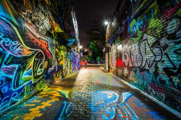 Graffiti Alley at night, at Central Square in Cambridge, Massach