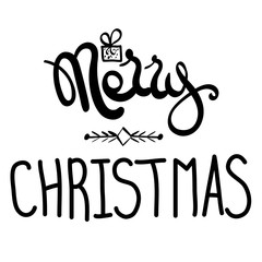 Inscription - Merry Christmas. Hand drawn lettering. Vector, illustration.