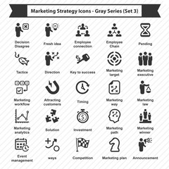 Marketing Strategy Icons - Gray Series (Set 3)