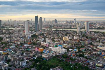 Bangkok sunrise, City scape view on metropolis of Thailand