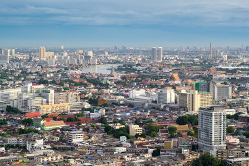 Bangkok City Scape on Bright Sky Day, The most populous metropolis in Thailand
