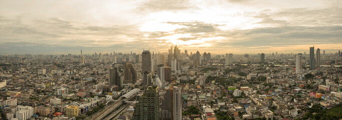 Bangkok sunrise, Aerial panorama city scape view on metropolis of Thailand