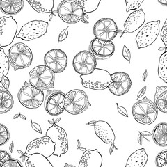 Black and white seamless pattern with lemons for coloring books