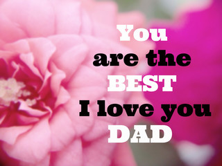 """Inspirational quote """"You are the best I love you dad"""" on blurred"""