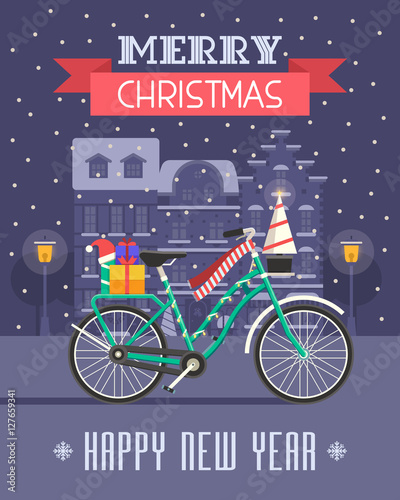 Christmas bicycle wishing card with traditional celebrating text christmas bicycle wishing card with traditional celebrating text merry christmas and happy new year greetings m4hsunfo