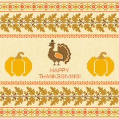 Thanksgiving emproidered background with turkey and pumpkin