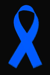 Awareness blue ribbon on black background