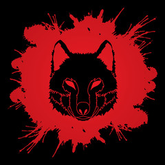 Wolf face front view designed on splatter blood background graphic vector.