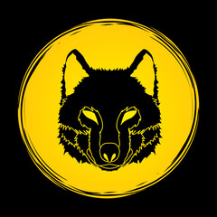 Wolf face front view designed on moonlight background graphic vector.