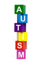 wooden toy cubes with letters. Autism