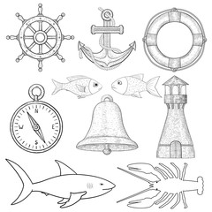 Nautical symbols. Hand drawn sketch
