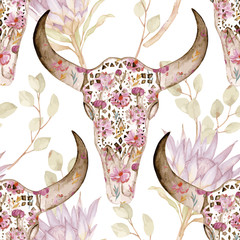 Watercolor seamless pattern with skull, peony, protea. Decoration motif for tattoo, wallpaper, wrapping, cards, halloween decor.