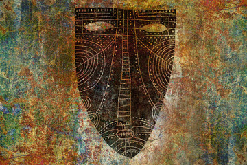 Ethnic Mask On Painted Background