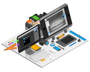 Graphic Design Workplace Illustration