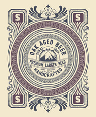 Vintage label design for beer and Wine label, Restaurant.