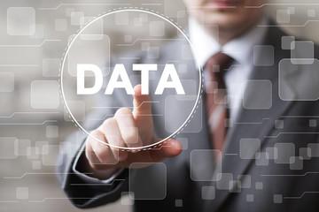 Businessman presses button data icon