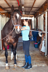 Young horsewomen owner harnessing the stallion in stable
