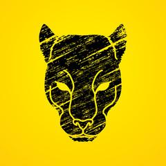 Black Panther Head designed using black grunge brush graphic vector.