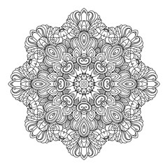 Vector hand drawn doodle mandala for coloring book.