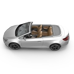 convertible sports car isolated on a white. 3D illustration