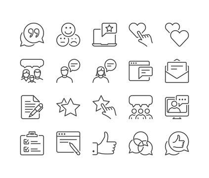 testimonials thin line icons