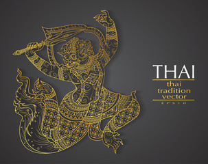 Thai art element Traditional gold for greeting cards