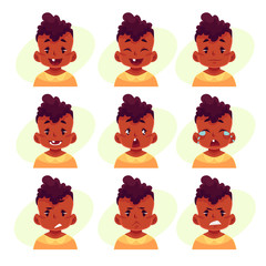 Little boy face expression, set of cartoon vector illustrations isolated on yellow background. black male kid emoji face icons, facial expressions, set of baby boy avatars with different emotions