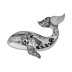 Doodles design of a whale isolated on white background