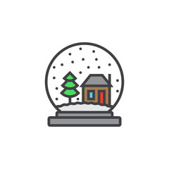 Snow globe line icon, filled outline vector sign, linear colorful pictogram isolated on white. logo illustration