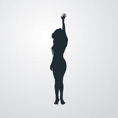 Icono plano silueta mujer sexy en fondo degradado