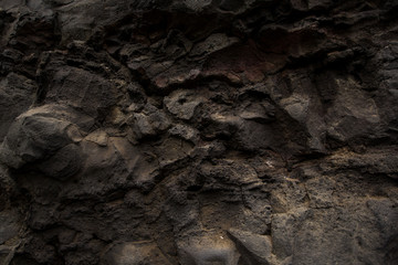 Solidified volcanic lava texture