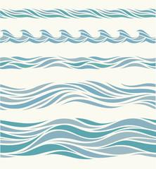 Set seamless pattern with stylized blue waves