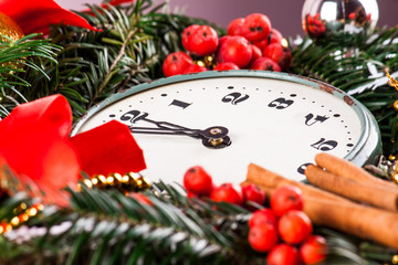 Christmas wreath and clock