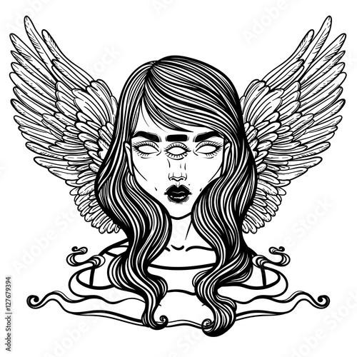 Portrait Of Mystic Angel Or Demon Of Death In The Form Of A Girl