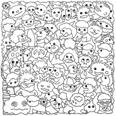 funny monster animal group hand drawn vector drawing illustration design