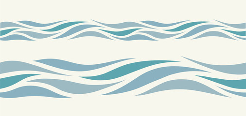 Seamless pattern with stylized blue waves
