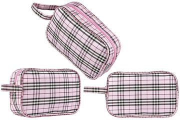 Set of three instances of a pink cosmetic travel bag