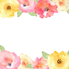 Floral greeting card. Frame for your text with flowers drawing w