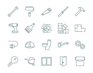 Set of construction, repair tools vector icons