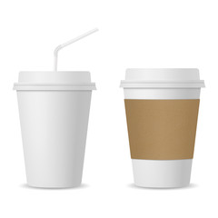 Realistic coffee and paper cups with straw mockup