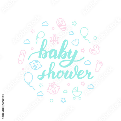 baby shower lettering with icons calligraphy font stock image and