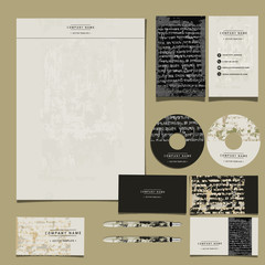 Vector brand book, corporate identity for the company with elements of grunge and aging, vintage