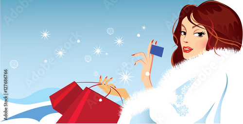 9ca7213eb5 banner of fashionable girl in winter fluffy clothes holding a card in his  hand