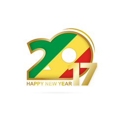 Year 2017 with Congo Flag pattern. Happy New Year Design.