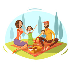 Family Having Picnic Illustration